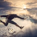 A man running from a storm jumping over a clock, symbolizing dealing with moving on short notice.