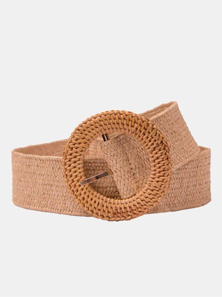 Women Weave Round Buckle Belt