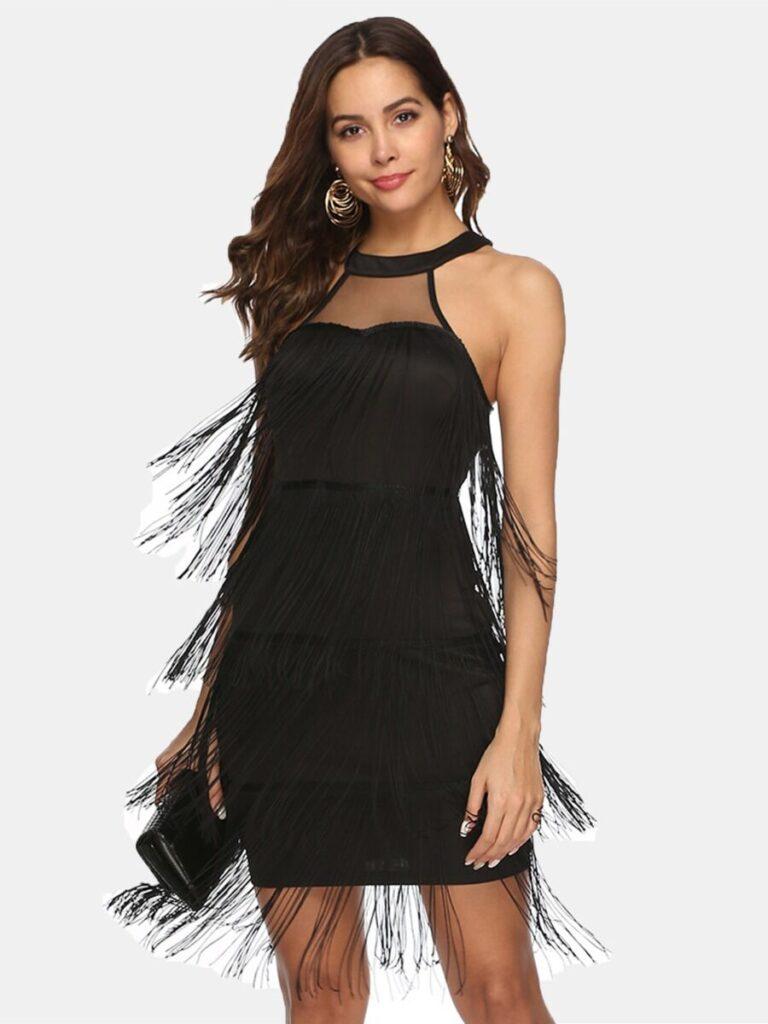 Solid Color Tassel Trim Halter Dress