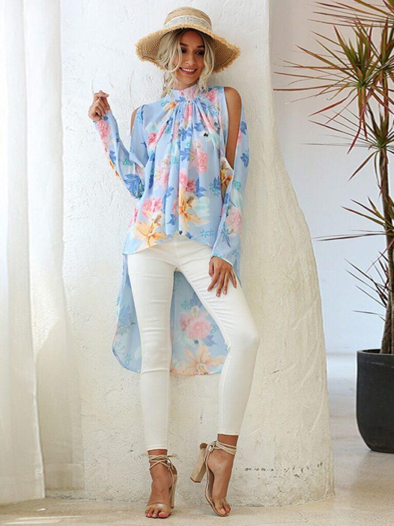 Split Sleeve Mock Neck Hi-Lo Hem Floral Top