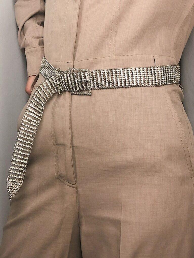 Women Rinestone Decor Waist Belt