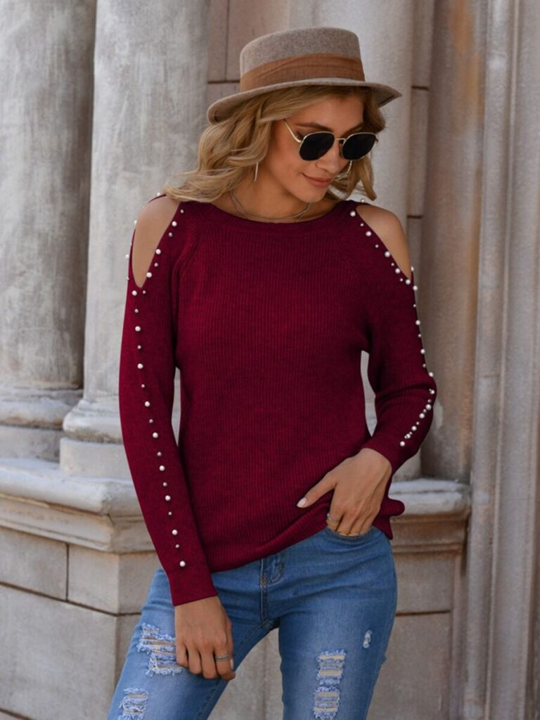 Cold Shoulder Pearl Sleeve Rib-knit Top