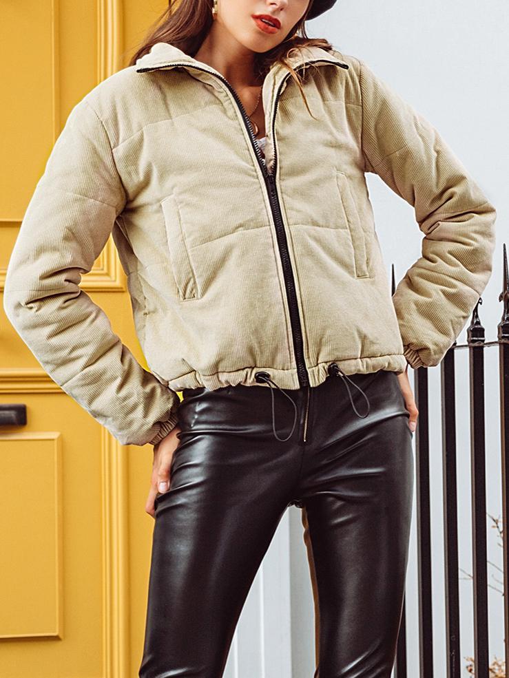 kiskissing wholesale solid color pocket corduroy down jacket