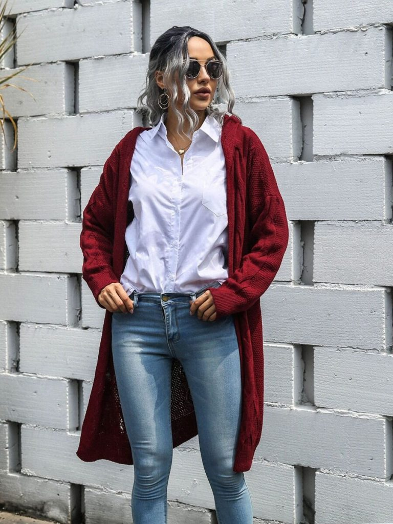 Solid Long-line Knitted Hooded Cardigan
