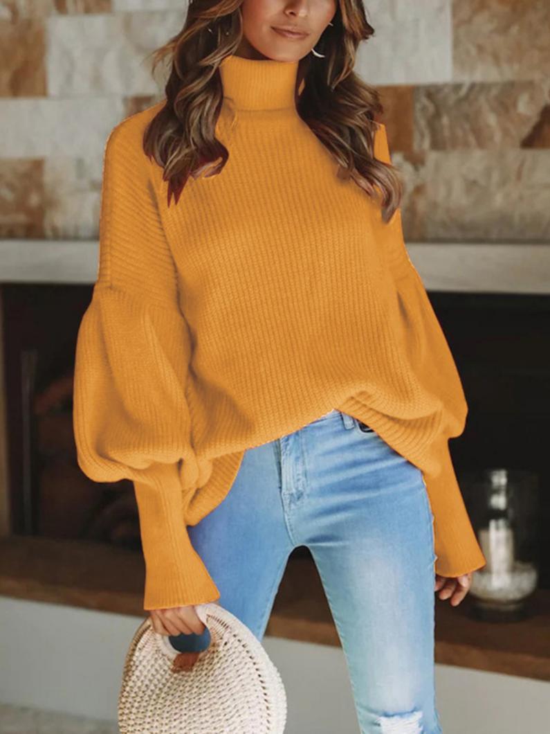 shestar wholesale bishop sleeve solid turtleneck knitting sweater