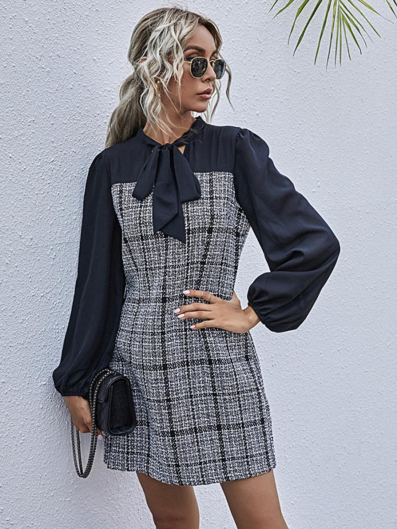 shestar wholesale bowtie collar houndstooth panel patch dress