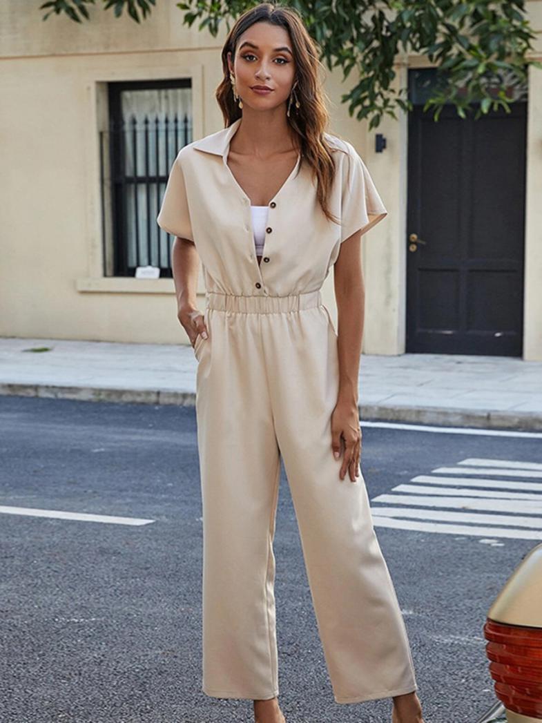 shestar wholesale office button decor wide-leg plain jumpsuit