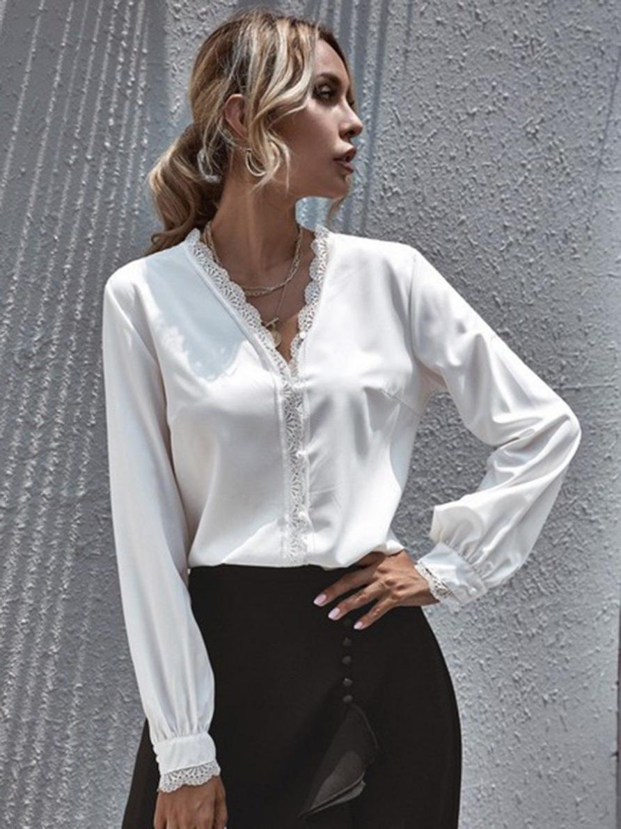 shestar wholesale v-neck lace trim office shirt