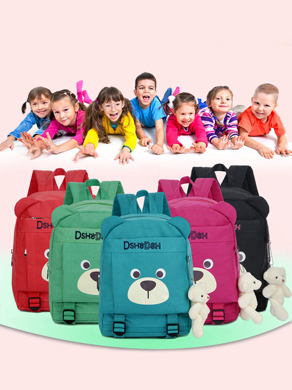 ADORABLE CARTOON BEAR PRINT CANVAS BACKPACK SCHOOLBAG BACK TO SCHOOL FOR GIRLS BOYS ZIP-UP