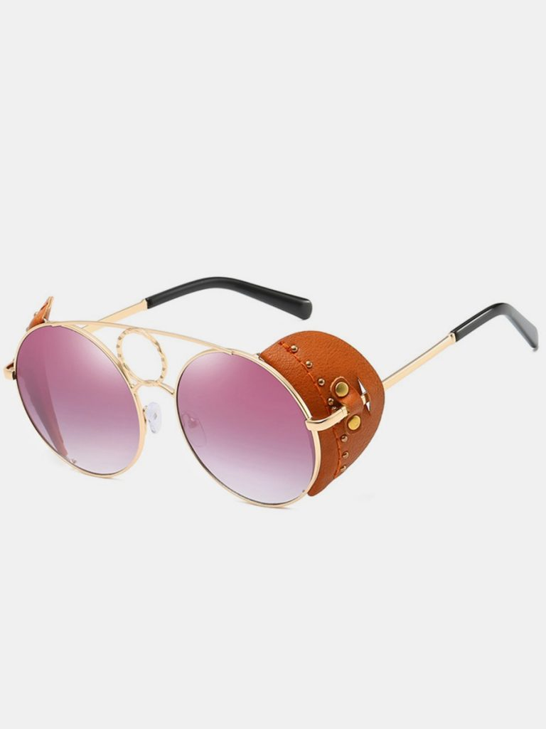 Studded Leather Patchwork Round Sunglasses
