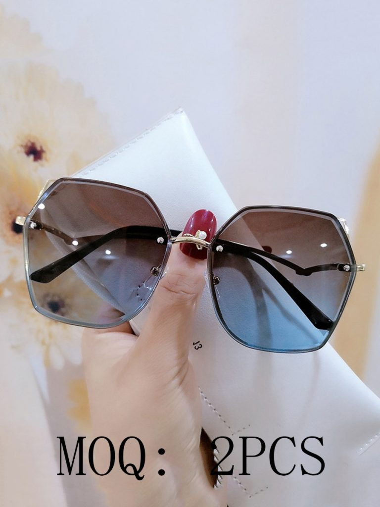Geometric Lens Rimless Tinted Sunglasses
