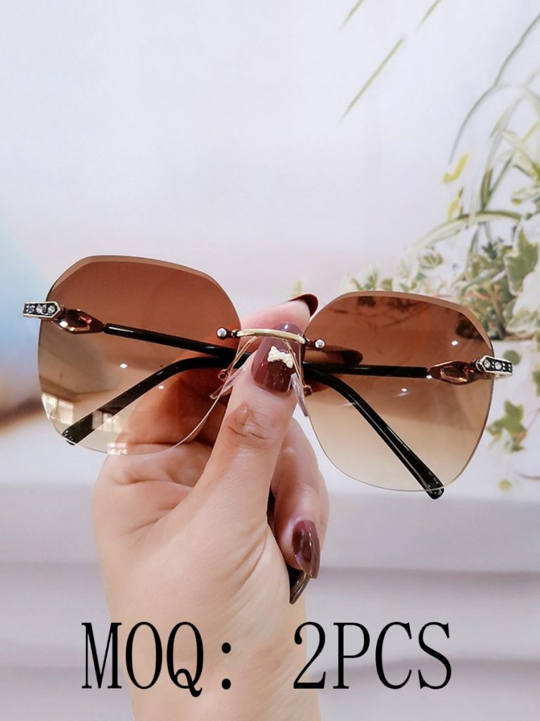 Rimless UV Protection Irregular Sunglasses