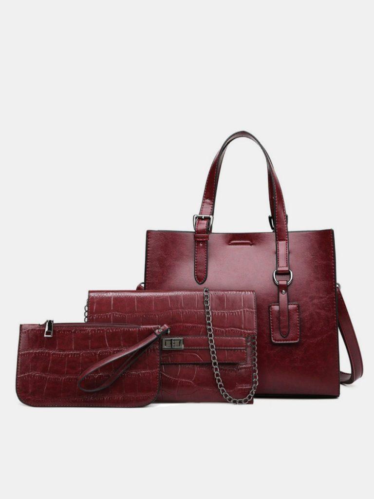 3-pack Pu Leather Tote Messenger Bag Purse Set