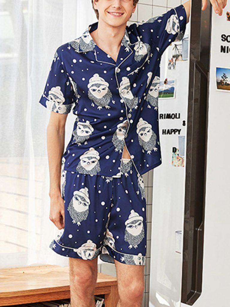2 Pieces Loungewear All-over Print Top Match Shorts Set