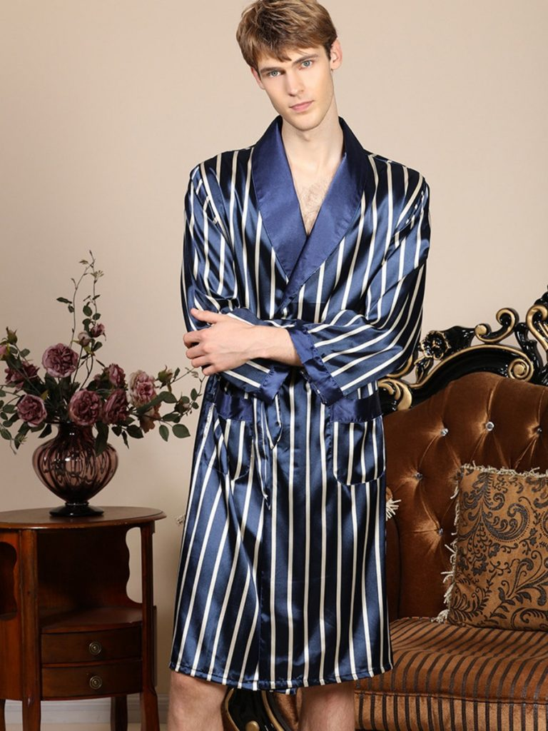 Color Blocking Vertical Striped Belted Kimono Nightgown