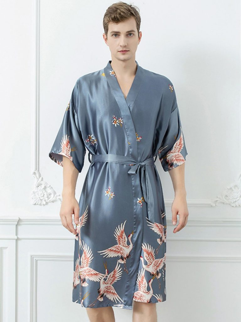 Crane Animal Print Belted Satin Wrap Kimono