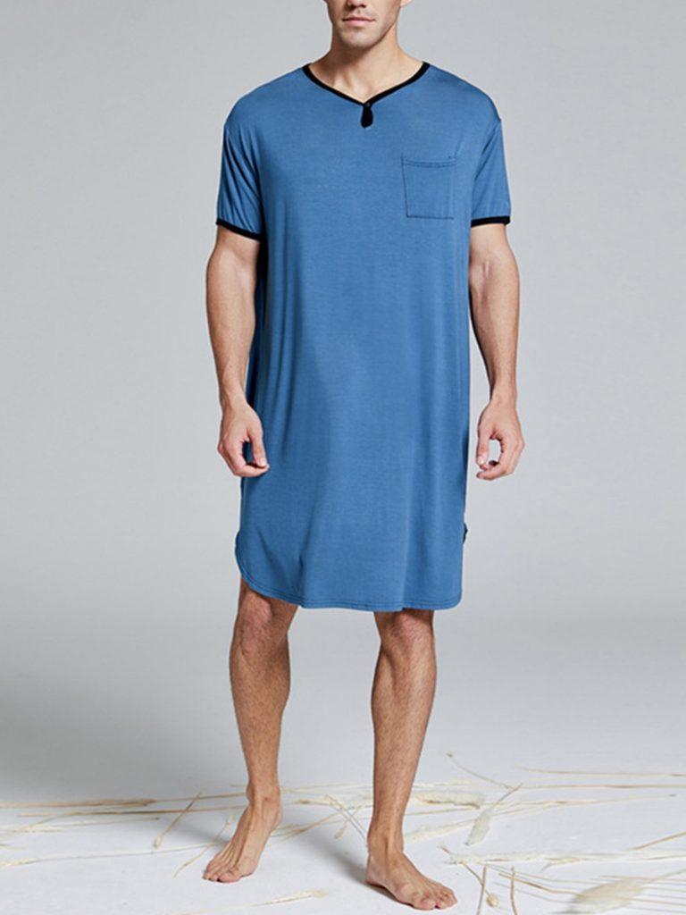 Short Sleeve Contrast Longline Pajamas Tee