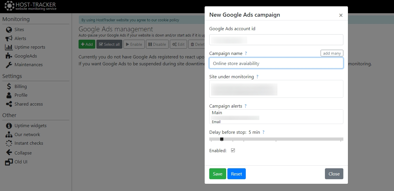 Google Ads monitoring via HostTracker