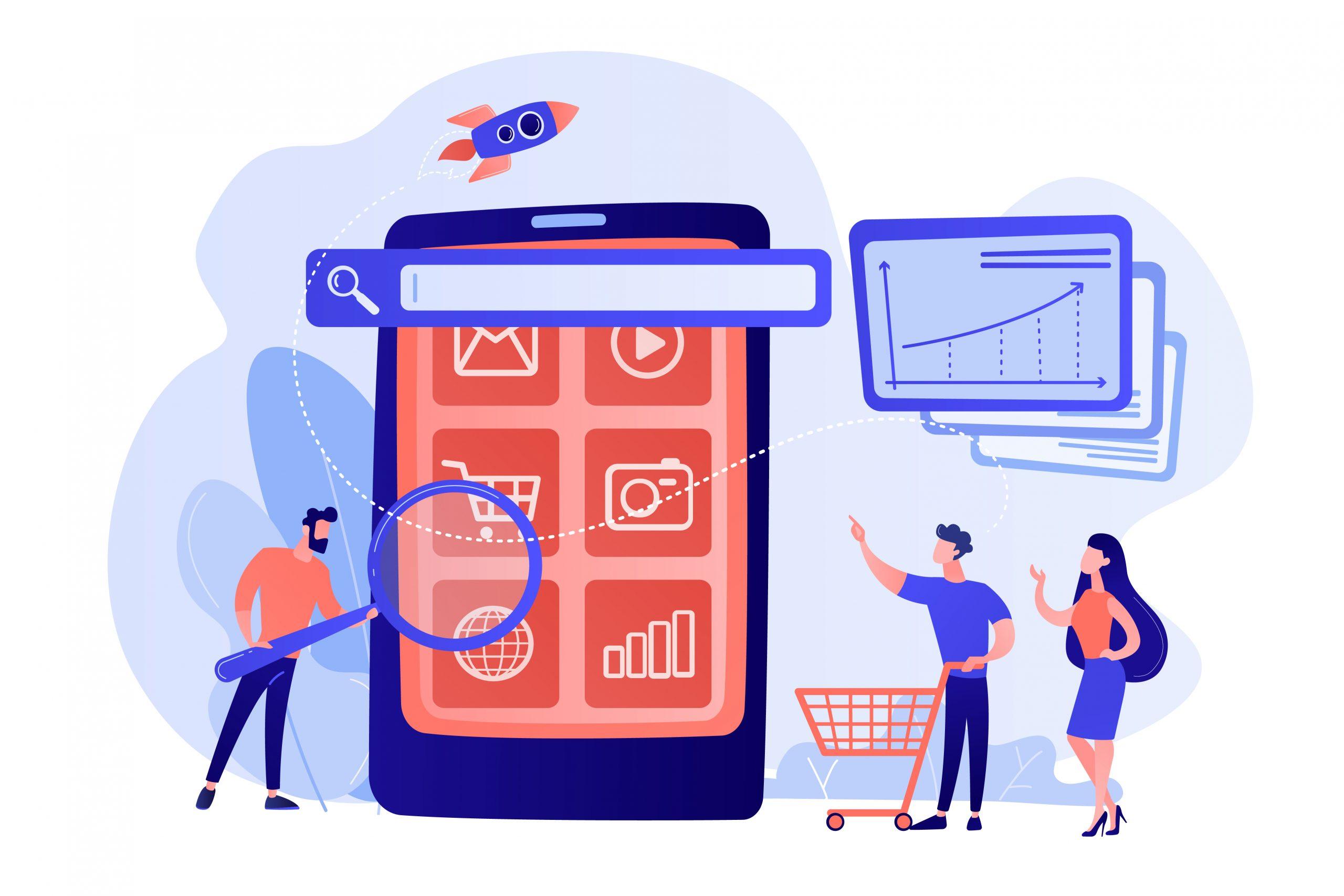 Mobile media optimization concept vector illustration